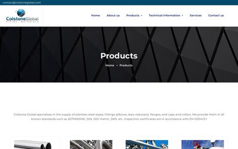 Screenshot of Products Page colstoneglobal.com - Products – Colstone Global - captured Nov. 5, 2018