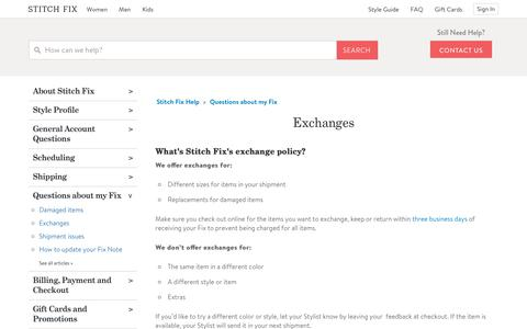 Screenshot of Support Page stitchfix.com - Exchanges – Stitch Fix Help - captured April 25, 2019