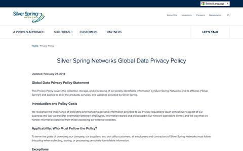 Screenshot of Privacy Page silverspringnet.com - Privacy Policy - Silver Spring Networks - captured July 3, 2016