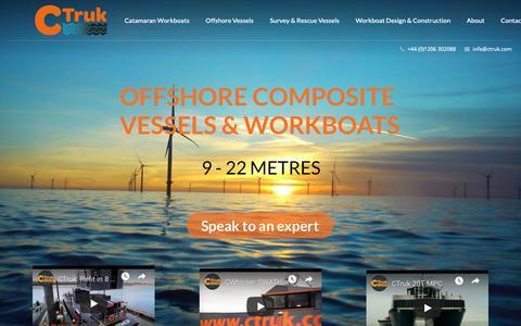 Screenshot of Home Page ctruk.com - Ctruk - Offshore Vessels & Workboats UK - captured Nov. 4, 2018