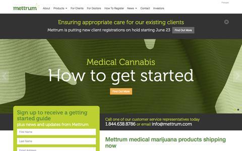 Screenshot of Home Page mettrum.com - Mettrum - Health Canada Licensed Medical Marijuana Producer - captured Oct. 6, 2014