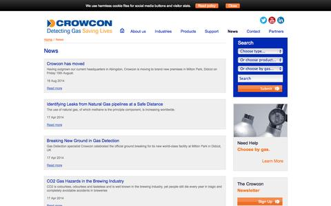 Screenshot of Press Page crowcon.com - Crowcon Detection Instruments, Toxic, Portable, Monitoring, News - captured Oct. 10, 2014