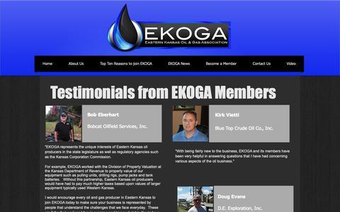 Screenshot of Testimonials Page ekoga.org - EKOGA - Eastern Kansas Oil and Gas Association | Testimonials - captured Sept. 26, 2018