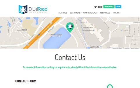 Screenshot of Contact Page bluetoadpublishing.com - Contact Us | BlueToad - captured Sept. 18, 2014