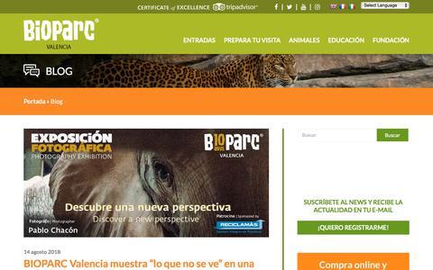 Screenshot of Blog bioparcvalencia.es - Blog archivos - BIOPARC Valencia - captured Sept. 22, 2018