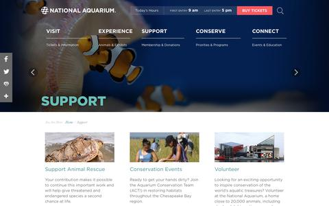 Screenshot of Support Page aqua.org - National Aquarium | Support - captured May 22, 2018
