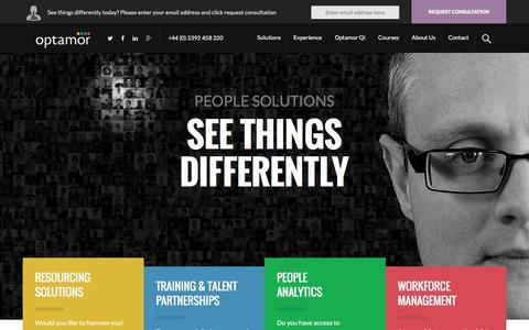 Screenshot of Home Page optamor.com - Optamor people solutions - see things differently | Optamor - captured Feb. 22, 2016