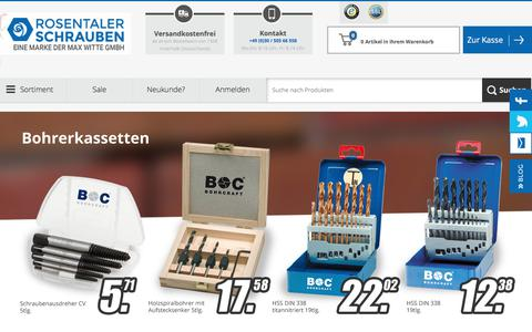 Screenshot of Home Page rosentaler-schrauben.de - Rosentaler Schrauben Online Shop - captured June 14, 2018