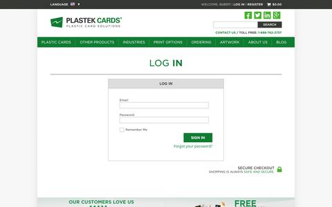 Log In  |  Plastek Cards | Promotional Plastic Card Printing & Manufacturing