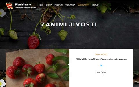 Screenshot of Services Page planishrane.com - Zanimljivosti – Plan Ishrane - captured July 19, 2018