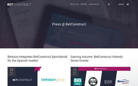 Screenshot of Press Page betconstruct.com - Jonathan says… - captured Oct. 25, 2017