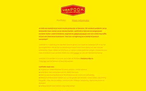 Screenshot of Contact Page vanpook.nl - vanPOOK - krachtig reclame ontwerp - Meer informatie - captured Sept. 21, 2018