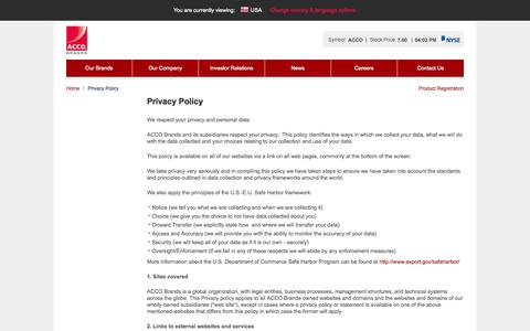 Screenshot of Privacy Page accobrands.com - Privacy Policy - ACCO Brands - captured Sept. 13, 2014