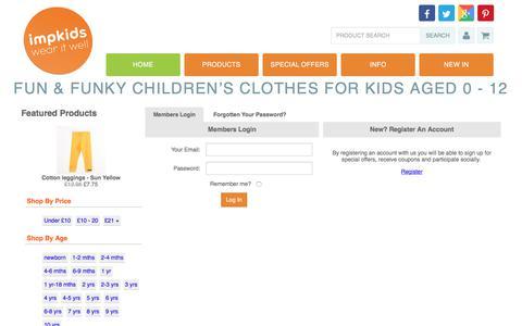 Screenshot of Login Page impkids.co.uk - Kids Clothing | Childrens Clothing | Impkids.co.uk - captured July 5, 2017