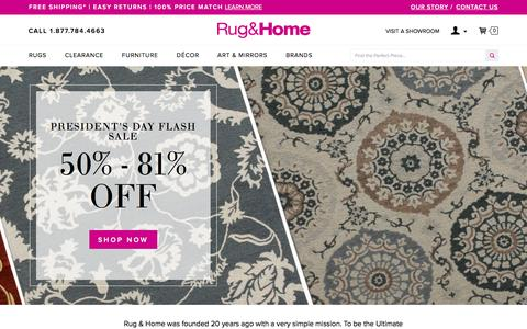 Screenshot of Home Page rugandhome.com - Area Rugs | Online Rug Store | Home Decor | Rug and Home - captured Feb. 17, 2016