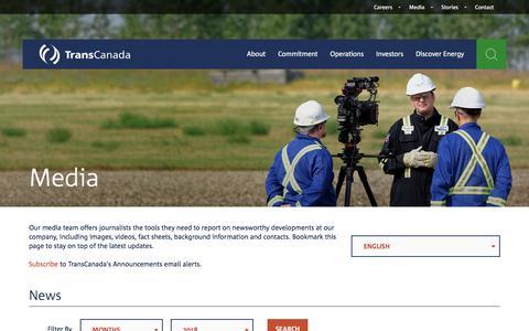 Screenshot of Press Page transcanada.com - TransCanada – Media - captured June 20, 2018