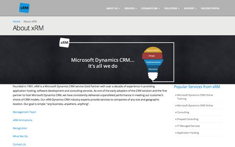 Screenshot of About Page xrm.com - About Us   Microsoft Dynamics CRM Service   xRM - captured Oct. 19, 2017