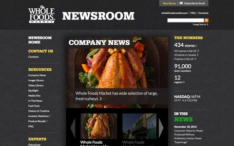 Screenshot of Press Page wholefoodsmarket.com - Home - Whole Foods Market Newsroom - captured Nov. 20, 2015