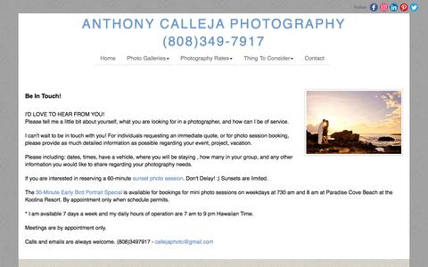 Screenshot of Contact Page anthonycalleja.com - Contact Oahu Photographer | Anthony Calleja Photography - captured Aug. 16, 2019