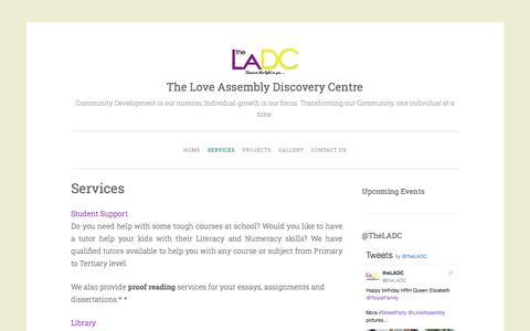 Screenshot of Services Page theladc.co.uk - Services | The Love Assembly Discovery Centre - captured Sept. 27, 2016