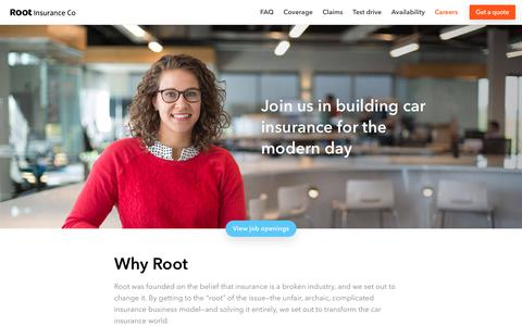 Screenshot of Jobs Page joinroot.com - Careers at Root Insurance Company | Jobs in Columbus, Ohio - captured July 15, 2019