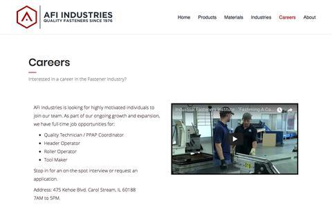 Screenshot of Jobs Page afiindustries.com - Careers | AFI Industries - captured Oct. 6, 2017