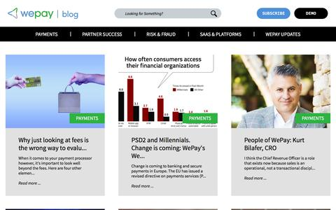Screenshot of Blog wepay.com - WePay Blog – Ideas on integrated payments, fintech, SaaS business, and more. - captured April 1, 2017