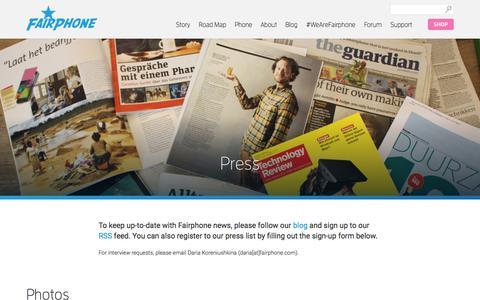 Screenshot of Press Page fairphone.com - Press | Fairphone - captured Oct. 28, 2014