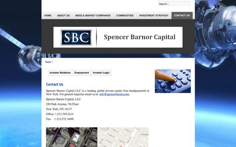 Screenshot of Contact Page spencerbarnor.com - Contact Us - captured Oct. 6, 2014