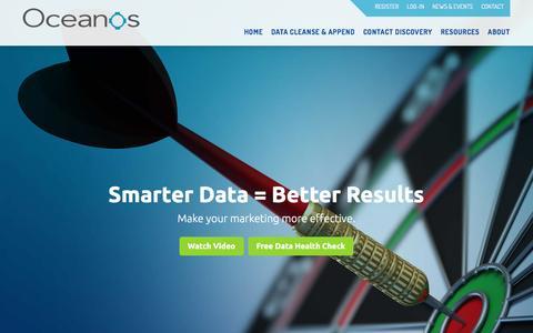 Screenshot of Home Page oceanosinc.com - Experts in Contact Data Management | Oceanos Inc. - captured Nov. 28, 2016
