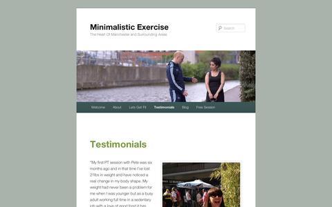 Screenshot of Testimonials Page wordpress.com - Testimonials | Minimalistic Exercise - captured Sept. 12, 2014