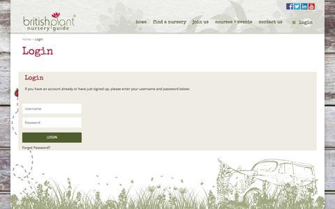 Screenshot of Login Page britishplantnurseryguide.co.uk - Login | British Plant Nursery Guide - captured Nov. 3, 2014