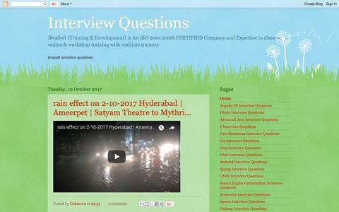 Screenshot of Home Page sivasoft-interview-questions.blogspot.com - Interview Questions - captured July 4, 2018