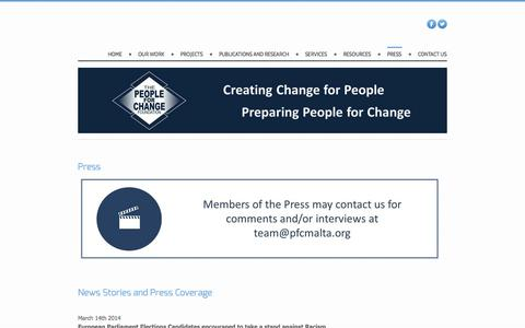 Screenshot of Press Page pfcmalta.org - Press - The People for Change Foundation - captured Oct. 1, 2014