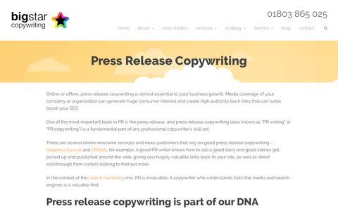 Press Release Copywriting - PR Copywriter - PR Copywriting