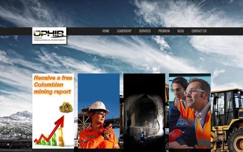Screenshot of Home Page ophirmri.com - OphirMRI   OPHIR Mining Resources & Investment - captured Oct. 6, 2014