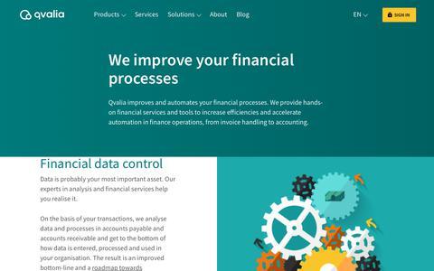 Screenshot of Services Page qvalia.com - Financial services   Qvalia - captured July 11, 2019