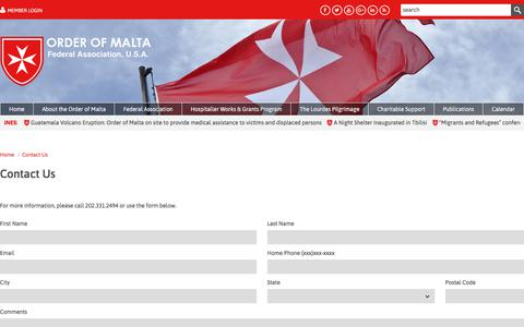 Screenshot of Contact Page orderofmaltafederal.org - The Order of Malta Federal Association, USA is a lay religious order of the Catholic Church. - captured June 11, 2018