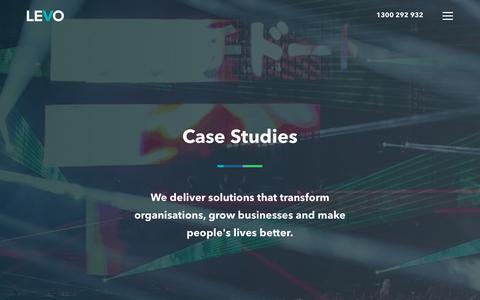 Screenshot of Case Studies Page levo.com.au - Our work - captured Nov. 10, 2018