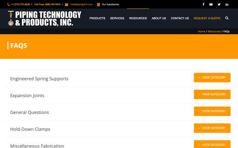 Screenshot of FAQ Page pipingtech.com - FAQs Archives | Piping Technology & Products, Inc. - captured Sept. 28, 2018
