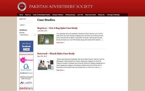 Screenshot of Case Studies Page pas.org.pk - Pakistan Advertisers Society|Archive|Case Studies - captured Jan. 24, 2016