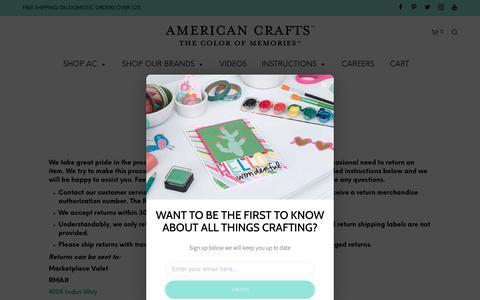 Screenshot of FAQ Page americancrafts.com - FAQ – American Crafts - captured Aug. 20, 2018