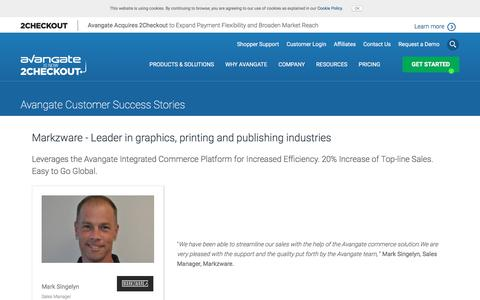 Screenshot of Case Studies Page avangate.com - Markzware - Leader in graphics, printing and publishing industries - captured April 13, 2018
