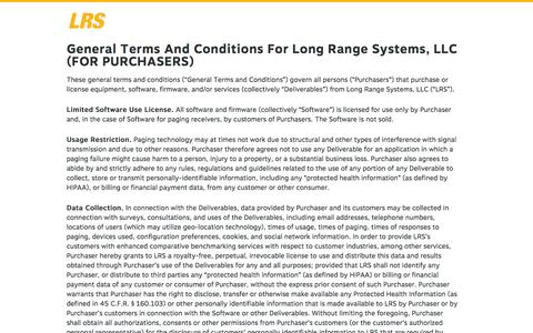 Screenshot of Terms Page lrsus.com - General Terms And Conditions For Long Range Systems, LLC (FOR PURCHASERS) - LRSus.com - captured Sept. 19, 2014