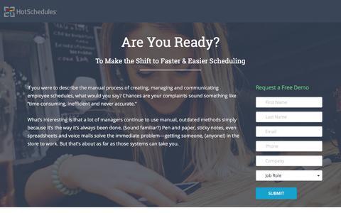 Screenshot of Landing Page hotschedules.com captured April 21, 2017