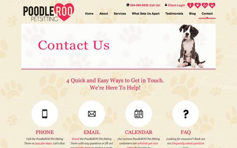 Screenshot of Contact Page poodleroo.com - Contact Us | Calendar Pet Care Online - captured Aug. 12, 2017