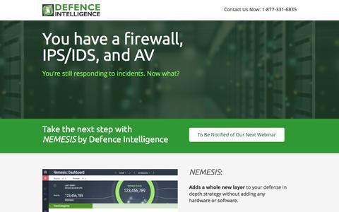 Screenshot of Landing Page defintel.com - NEMESIS - Advanced Malware Protection - captured April 19, 2016