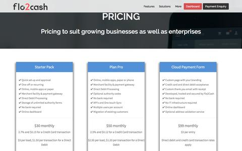 Screenshot of Pricing Page flo2cash.com - Pricing - Recurring Payments Solutions   Flo2Cash - captured Dec. 5, 2016