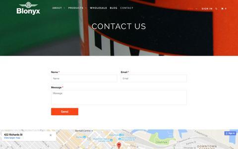 Screenshot of Contact Page blonyx.com - Contact Us - Blonyx - captured Nov. 22, 2016