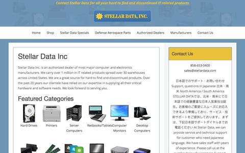 Screenshot of Home Page stellardata.com - Contact Stellar Data for all your hard to find and discontinued IT related products - captured Oct. 25, 2017